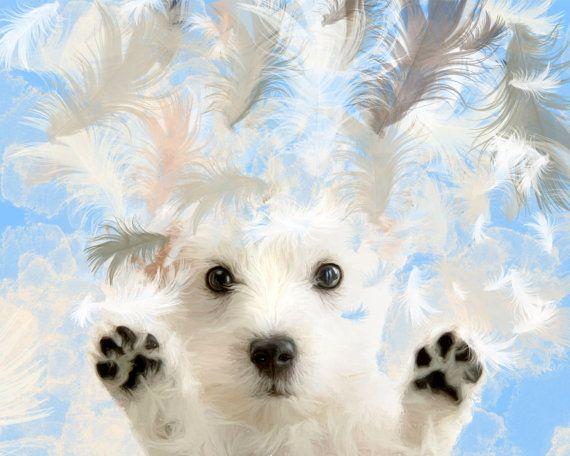 Custom dog portrait Puppy portrait Westie by MelaCustomPortraits