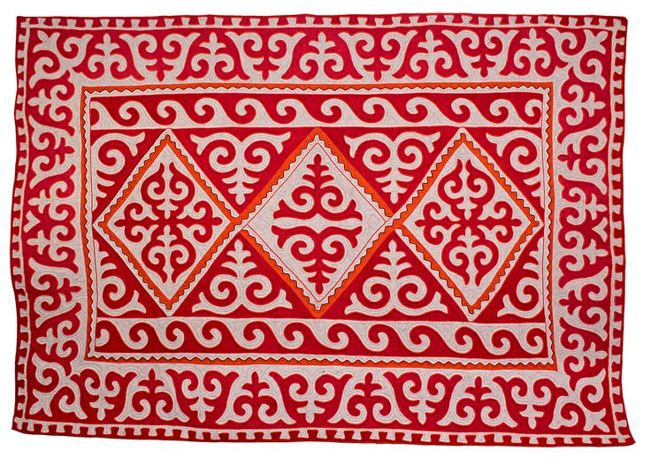 Room size red, white and orange Shyrdak rug from Felt 2.5m x 3.75m feltrugs.co.uk