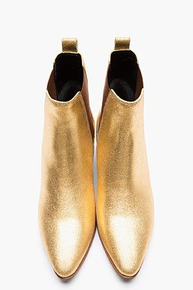 SAINT LAURENT Metallic Gold Leather Chelsea Ankle Boots.