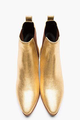 Saint Laurent Metallic Gold Leather Chelsea Ankle Boots for women | SSENSE