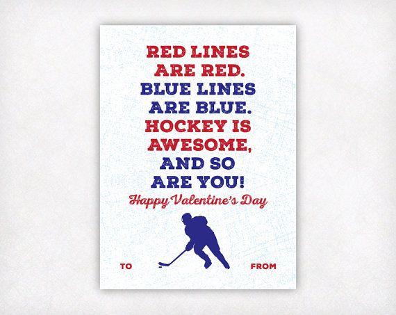 Hockey Valentines Day Cards Boys Valentine by SweetPeonyPress