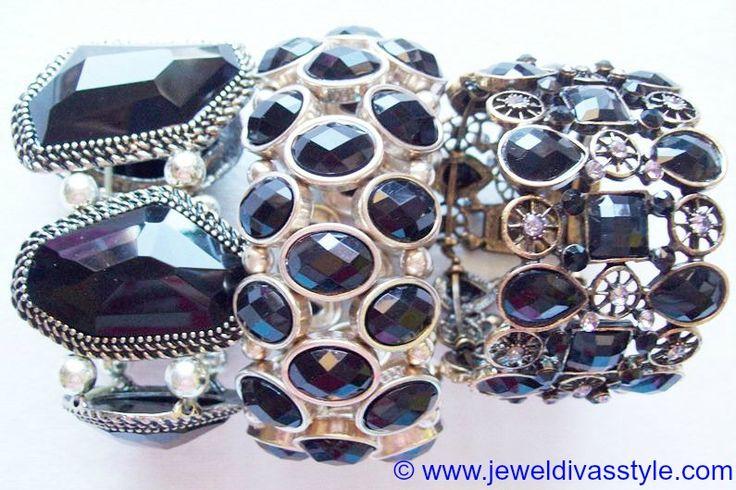 JDS -  BRACELET STACK - http://jeweldivasstyle.com/my-personal-collection-black-jewellery-15/