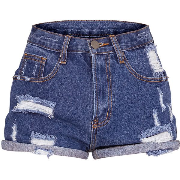 Camilla Blue High Waisted Ripped Denim Shorts ($27) ❤ liked on Polyvore featuring shorts, bottoms, high-waisted shorts, blue shorts, destroyed denim shorts, jean shorts and distressed jean shorts