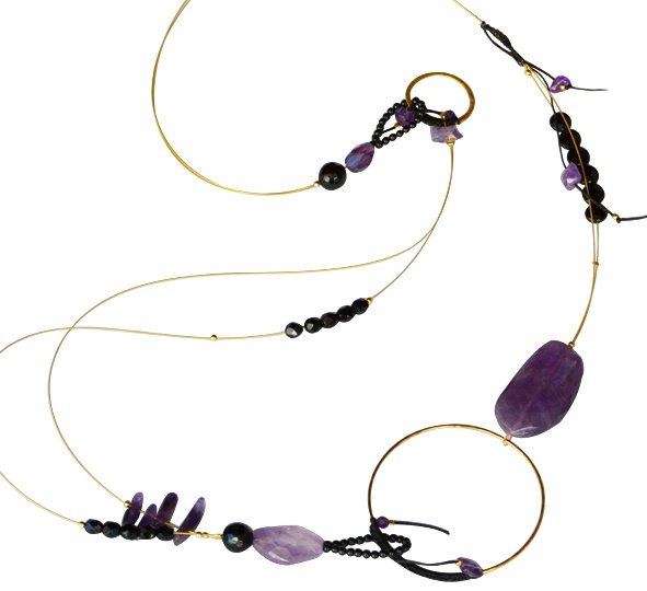 """Necklace """"Violet""""   925 silver and gold plated Necklace, with semi-precious stones, amethyst and onyx."""