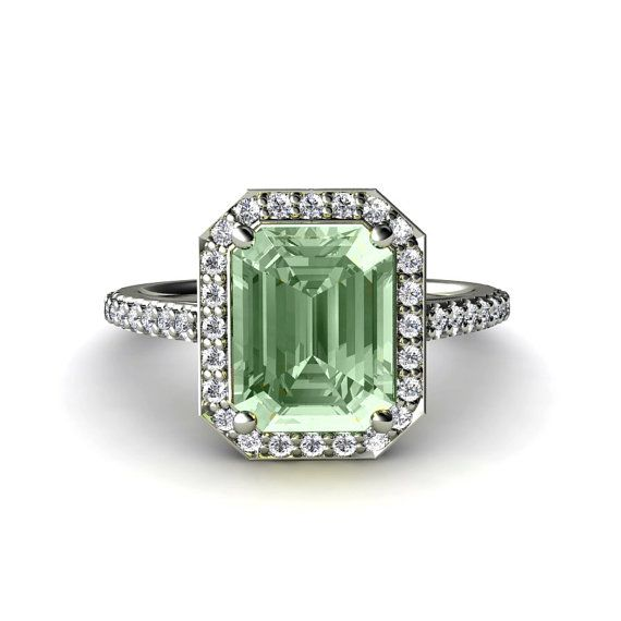 Green Amethyst Engagement Ring Diamond Halo Amethyst Ring 14K or Palladium