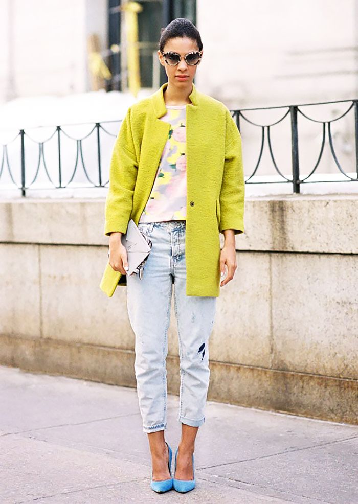 5 Easy Outfit Formulas for Spring: If you're going to a weekend brunch, start with a vibrant coat, pick a light pair of jeans, pick cheerful pumps and wear a playful pair of sunglasses.