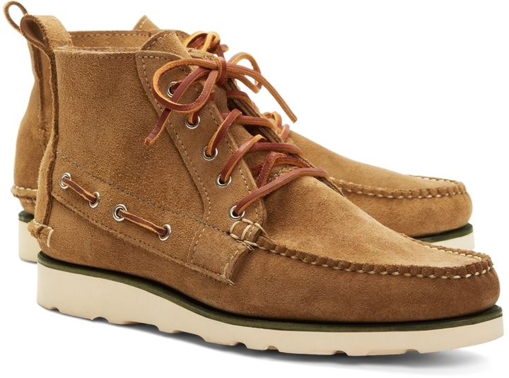 $368, Tan Suede Boots: Brooks Brothers Suede Boat Boots. Sold by Brooks Brothers. Click for more info: https://lookastic.com/men/shop_items/97708/redirect