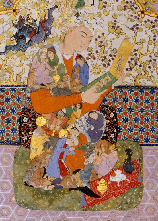 Sumptuous late 16th-century Persian manuscripts often opened with a double page evoking the joys of poetry and reading. Here, the costumes of the young poetry-lover and, facing him in the original binding, the girl holding a cup, are decorated with an assemblage of juxtaposed silhouettes, rather in the manner of the hybrid animals - elephants or horses - seen in contemporary Moghul miniatures from India.
