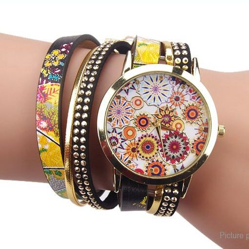 Fashion Folk-custom Style Flower Big Dial Bracelet Quartz Wrist Watch #UnbrandedGeneric
