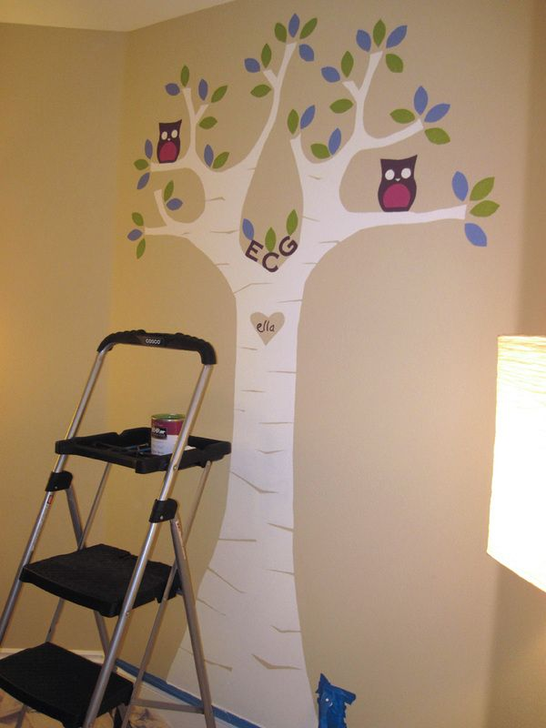 Freshly painted wall mural for baby nursery    Designer, Annie Helen  owl, girl, playroom, custom, mural, letters, purple, silhouette, tree, heart, ella, color, leaves, perch