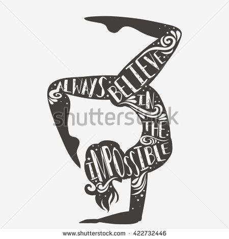 Always believe in the impossible. Sport/Fitness typographic poster with a girl. Motivational and inspirational illustration. Lettering. For print on T-shirt and bags, logo or cards. - stock vector
