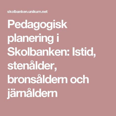 Pedagogisk planering i Skolbanken: Istid, stenålder, bronsåldern och järnåldern