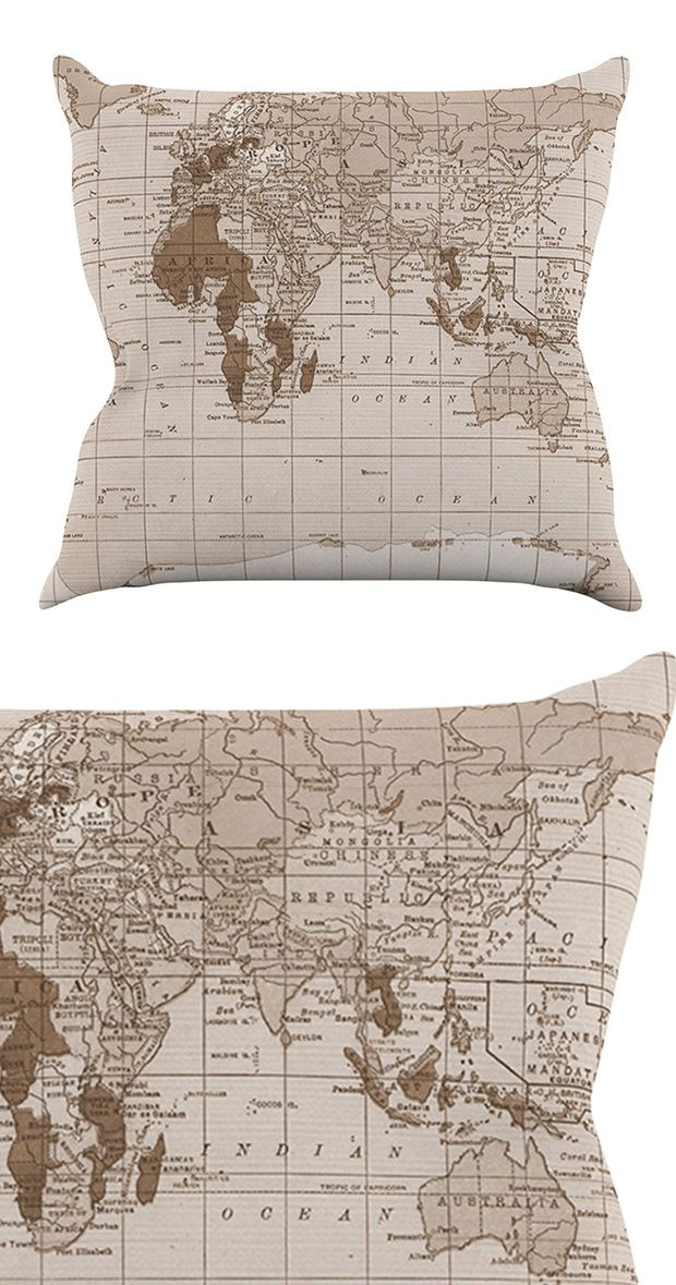 If you can't travel the world, bring it home! We love the Voyage Throw Pillows ornate, vintage-inspired cartography. The subtle sepia tones work wonderfully in a variety of earthy palettes, and would a...  Find the Voyage Throw Pillow, as seen in the Around the Globe with Steampunk Style Collection at http://dotandbo.com/collections/around-the-globe-with-steampunk-style?utm_source=pinterest&utm_medium=organic&db_sku=116383