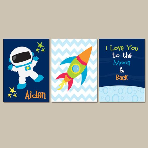 I Love You to the Moon & Back Boy Wall Art CANVAS or Prints Outer Space Boy Nursery Quote Rocket Stars Space Ship Set of 3 Boy Bedroom Decor