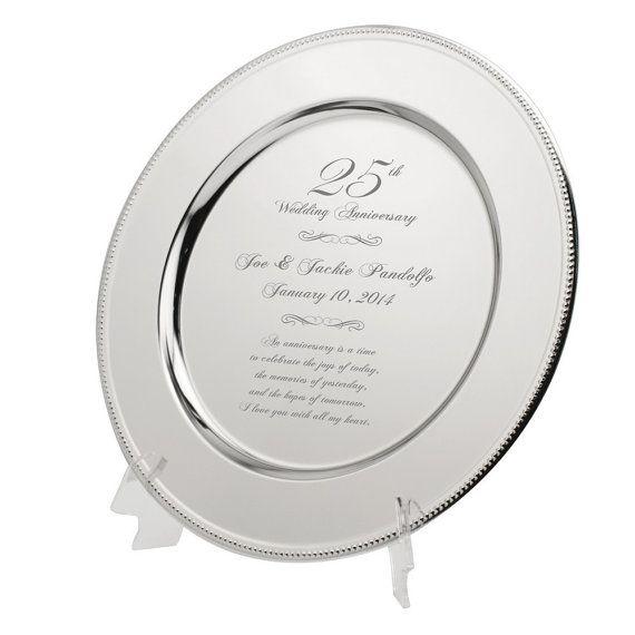 Personalized 25th Anniversary Silver Wedding Platter Engraved Wedding Anniversary Silver Plate 25th Anniversary Gift Memorable Gift Silver Anniversary Gifts 25th Wedding Anniversary Silver 25th Wedding Anniversary