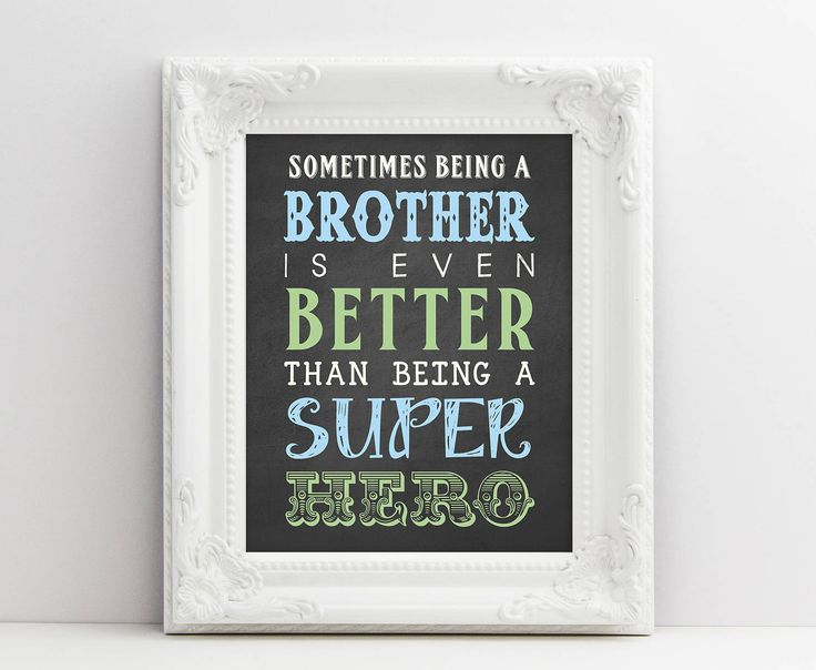Bedroom Wall Art - Brother Printable Quote - New baby Announcement Sign - Bedroom Decor - Kid Wall Art - Kids Wall Print - Instant Download