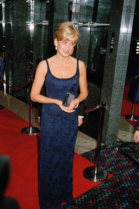 """12 February 1997: Diana, Princess of Wales attending the """"Love and War"""" premiere at Odeon at Leicester Square, London."""