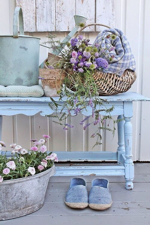 Love this pretty blue bench for the porch.
