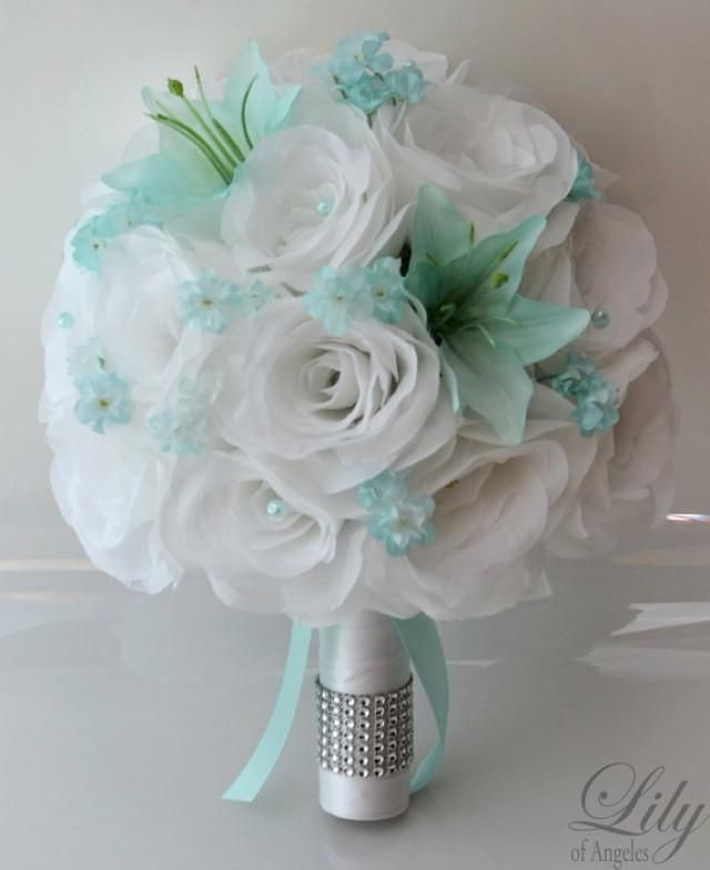 Turquoise Wedding Bouquet Ideas. Silk Wedding Bouquet Blush Pink And ...