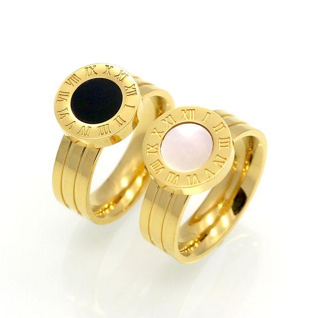 Famosa Marca de Mulheres Anéis 18 K Ouro/Rose Banhado A ouro de Aço Inoxidável Anel Numeral Romano Conchas Ágata Jóias de Luxo Feminino Qualidade superior