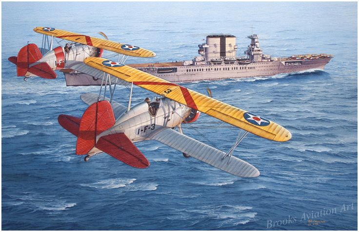 Pioneers by Tom Freeman  Two Boeing F4B4 fighters manuever into pattern to land on board the U.S.S. Saratoga (CV-3) during fleet problems in...