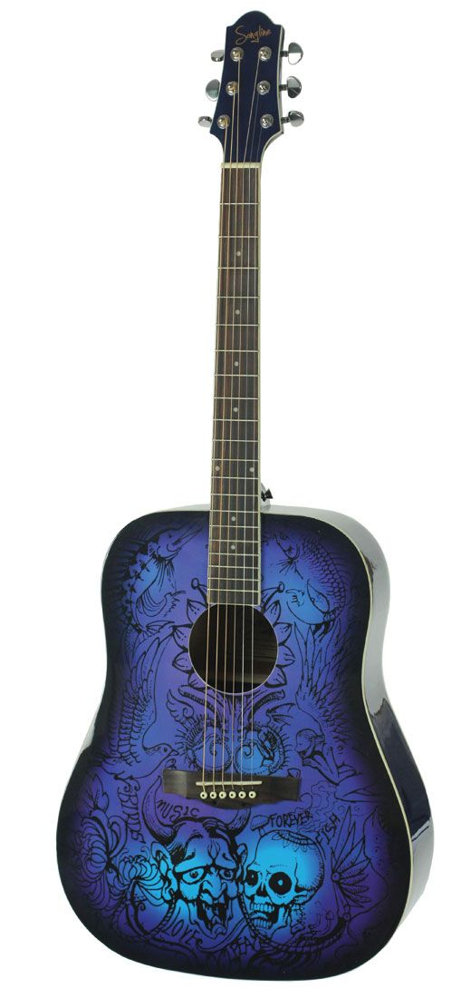 Songline DreamArt Acoustic Guitar Blue - See acoustic guitar ratings and reviews at: http://acousticguitarratingsandreviews.downloadplrarticles.net/