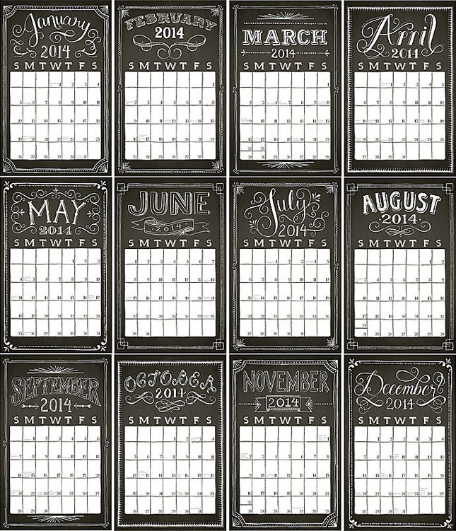 Stay organized with this chalkboard typography calendar.