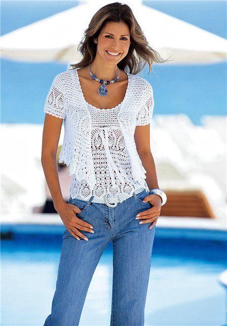 White Tank Top and Jacket free crochet graph pattern