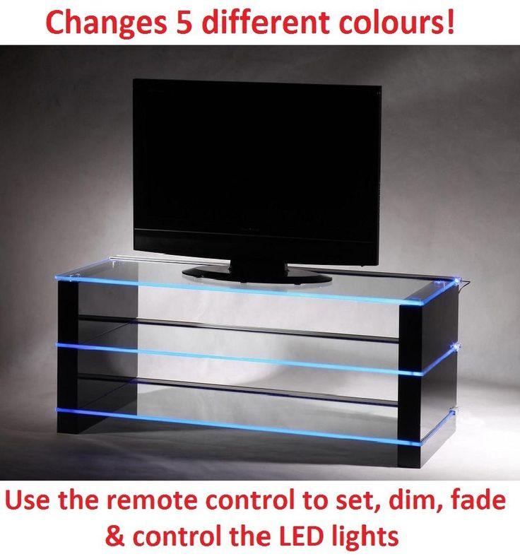 Modern TV Stand Cabinet Unit Clear Glass Black Gloss LED RGB
