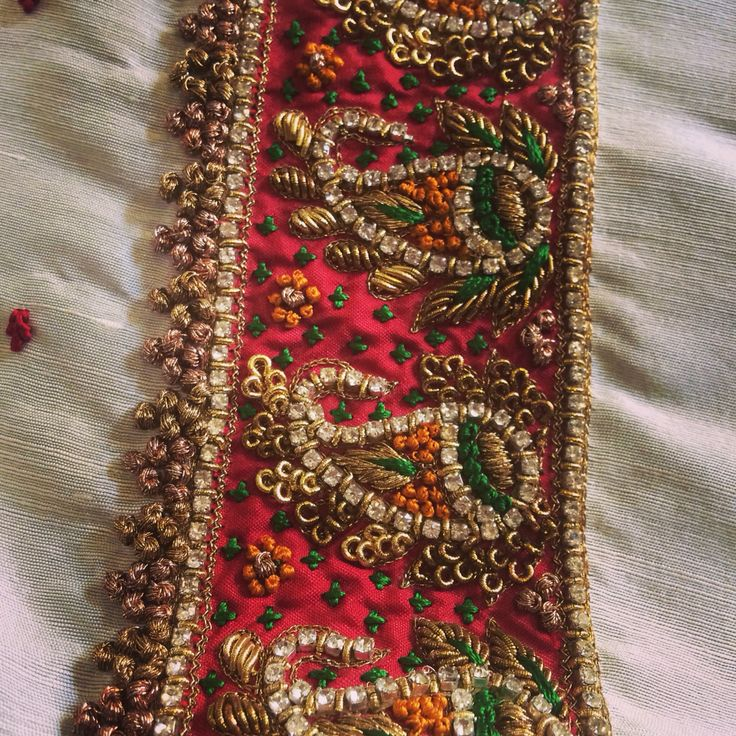 Intricate hand embroidered stone work and zardosi worked blouse!