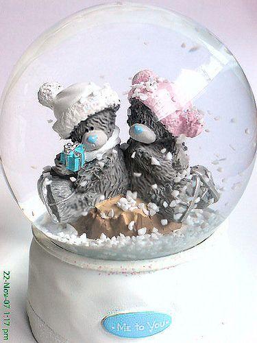 Me To You - Winter skating bear snow globe, via Flickr.