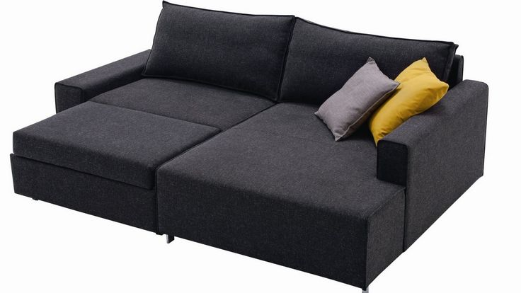 Cozy Dark Grey Sofa Bed For Two With Yellow And Grey Pillows