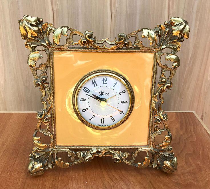 Vintage Clock, Globe Alarm Clock, Ornate Globe Alarm Clock, Vintage Alarm Clock, Hollywood Regency, Clock for Bedroom, Vintage Bedroom Clock by Vintagetinshed on Etsy
