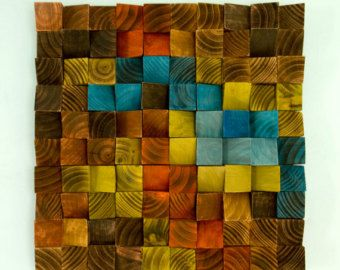 Wood Wall Art geometric wood art mosaic The by ArtGlamourSligo