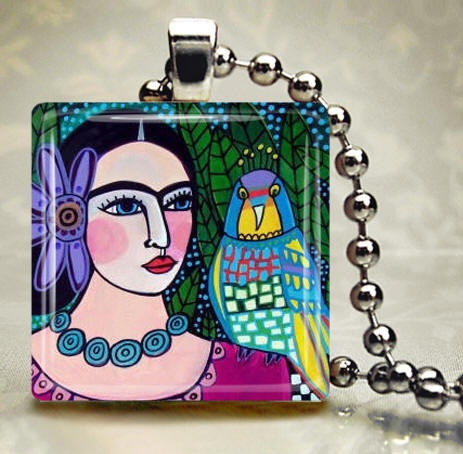 Parrot Jewelry Necklaces  FRIDA Kahlo Jewelry  by HeatherGallerArt, $28.00