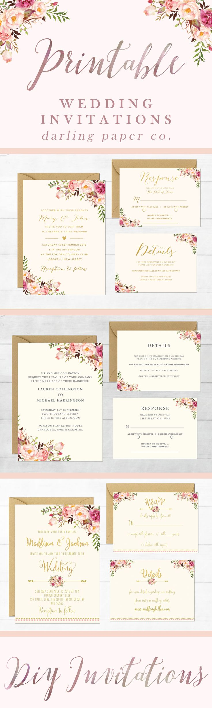 Wedding Invitations DIY - Printable Wedding Invitations - Floral Wedding Suite - Boho Wedding - Chic Wedding Invitations - Rustic Wedding Invitations - Printable - DIY - Wedding Invitation Template by DarlingPaperCo. on Etsy