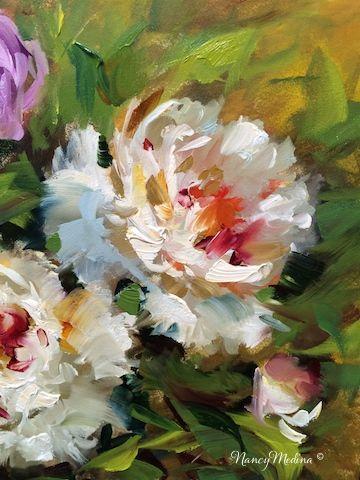 WindSwept Peonies, Flower Paintings by Nancy Medina art, oil www.nancymedina.com