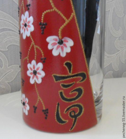 """Купить Японская ваза """"Золото"""" - ваза для цветов, стеклянная ваза, японский стиль, роспись"""