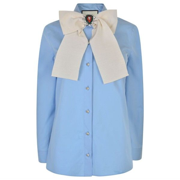 a4a25cfd7 Gucci Pearl Button Shirt (13.769.350 IDR) ❤ liked on Polyvore featuring tops,  sky blue, cotton shirts, blue button-down shirts, sky blue top, long sleeve  ...
