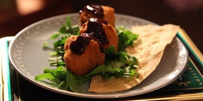 Deep fried camembert with quince & verjuice sauce - come dine with me australia