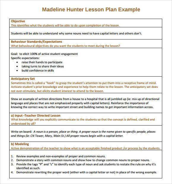 Lesson Plan Template Doc Original Madeline Hunter Lesson Plan