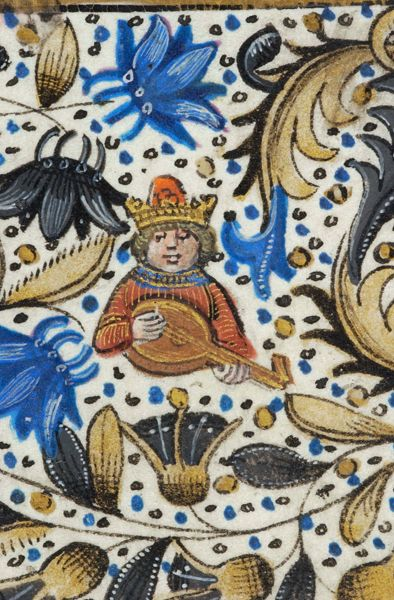 Crowned king playing lute | Book of Hours | Belgium, Bruges | ca. 1470 | The Morgan Library & Musuem