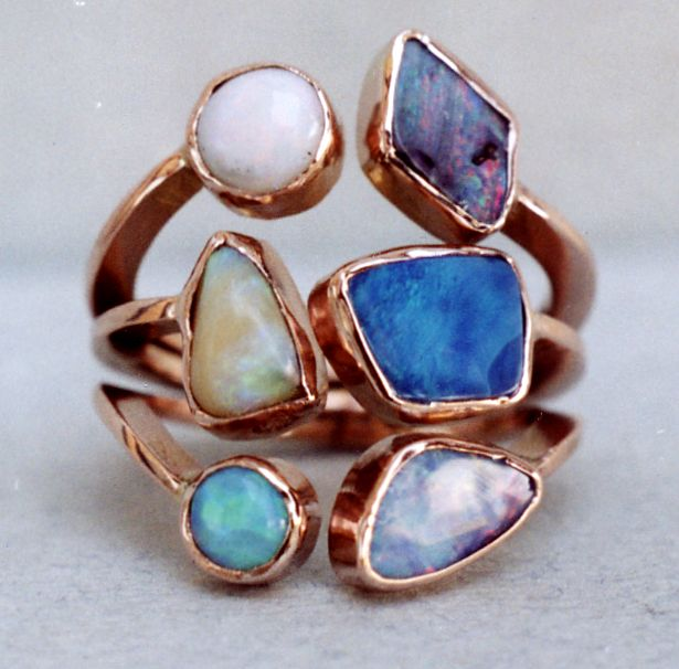ring-silver,rose gold,opals