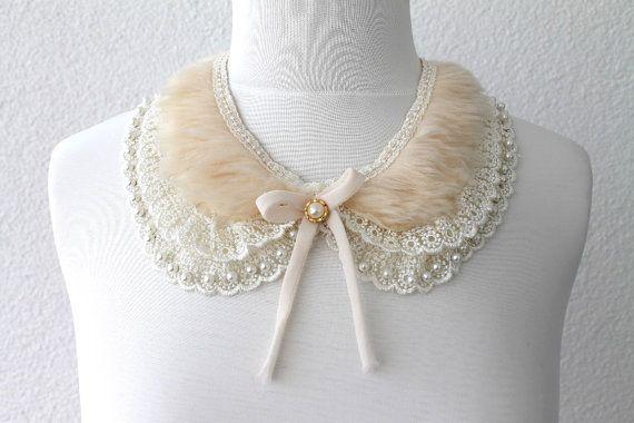 Marfil cuello Peter Pan Collar collar tafetán por BridalLife Más