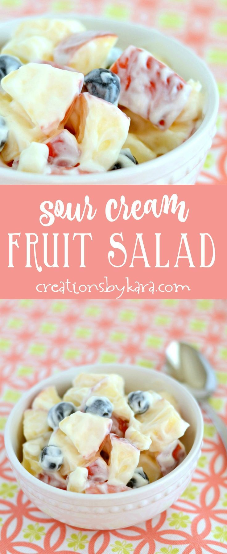 Easy and delicious, this Sour Cream Fruit Salad is always a hit. A tasty fruit salad recipe that can be whipped up in minutes. via creationsbykara.com