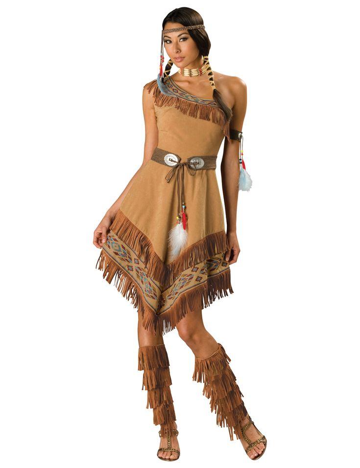 Travestimento Indiana donna - Premium: Questo travestimento si compone di un vestito, una cintura, un bracciale, una fascia, un collier e un paio di finti stivali.Il vestito ha un taglio asimmetrico che lascia scoperta la spalla destra....