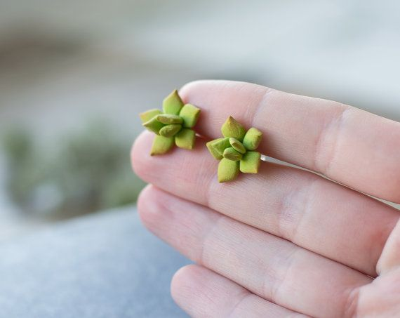 Green flower succulent stud earrings. The succulents are wholly sculpted out of air dry clay by hands and painted with oil paints.