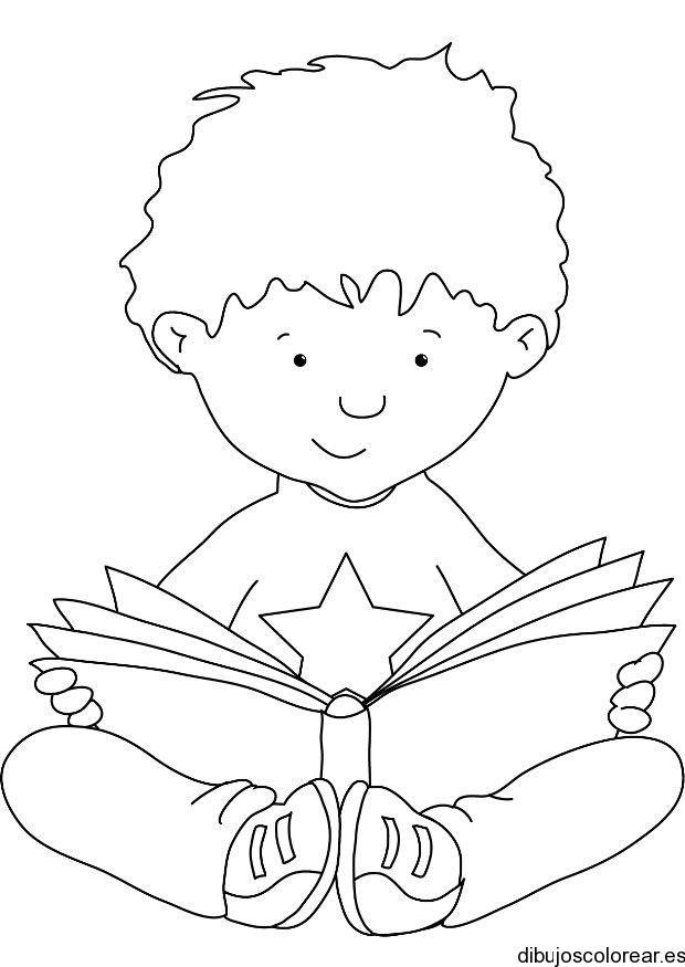 Dibujo de un niño leyendo un libro | Dibujos para Colorear | class ...