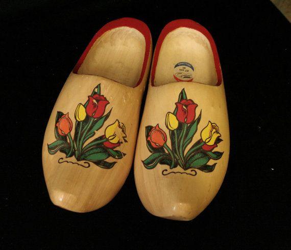 Dutch Natuurlijk Hand Painted Wooden Clogs from Holland
