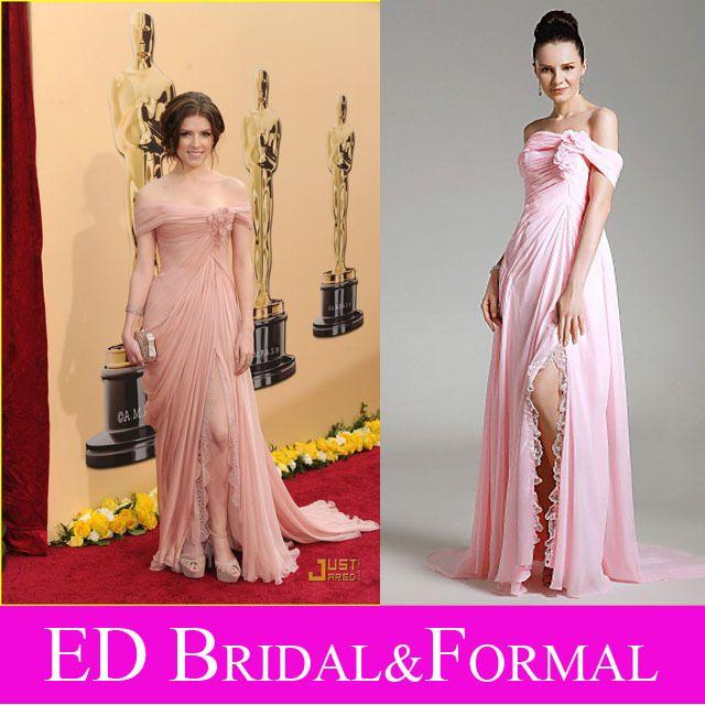 Анна кендрик оскар платье с плеча высокого щелевая розовый шифоновое платье знаменитости вечерние